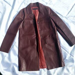 ZARA Faux Leather Burgandy Coat